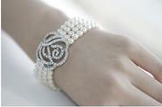 精緻尊貴玫瑰花四層珍珠手鍊 YU0105