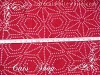 已複合紙朴錦緞布~ 紅色菱形花 22 X 35 cm