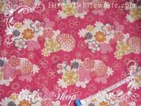 拼布布料~和風錦緞布梅粉色菊花 28 X 45 cm