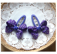 Purple Polka Dot Ribbon Pair Clips - SOLD OUT