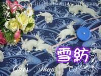 拼布布料 ~ 兔躍波濤雪紡布 20 X 48 cm