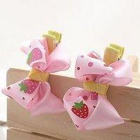 粉色草莓絲帶髮夾 #KK003  $20/對