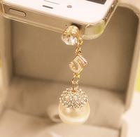 OC0004 新款韓國 珍珠帶鑽 蘋果手機防塵塞 手機塞
