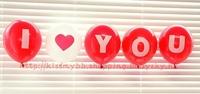 訂[門市罐裝氦氣現貨]優惠價加配:I♥You 桃紅或紅色乳膠氣球(須自行充氣)  Valentine Balloon 一套5個(現貨)