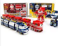 訂韓國Robot Train(籃) 變形火車連4卡火車廂 玩具
