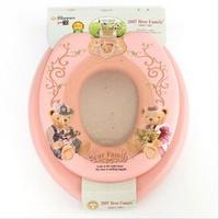 ㊣韓國造 BEAR FAMILY 子母廁所板 成人廁板+兒童軟墊學習坐廁板二合一_粉紅色_店取95折