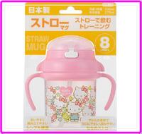 日本正品 嬰兒用品 第三階段 學習杯 吸管 可消毒 Hello Kitty 凱 蒂貓 9510