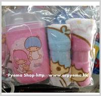 ㊣2017開學用品 Sanrio Little Twin Stars 卡通 兒童毛巾盒 手巾仔 2條裝2746