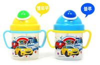 韓國TAYO 泰路小客車雙耳學習硬吸管杯(硬管可防咬穿)藍色/黃色任選)_360ml 130617