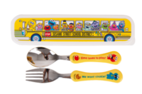 ㊣Sesame Street Elmo芝麻街 兒童餐具盒幼兒餵食卡通膠柄不繡鋼餐具連盒套裝(湯匙羮+筷子)210917