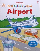 #1511 Usborne 填色+貼紙練習 Airport Colouring Book【填色畫冊】