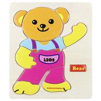#1630 木制立體小併圖,配對積木,Bear