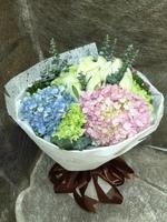 [鮮花速遞,網上訂花] #A2016002情人節花束(11支白玫加粉,藍繡球)