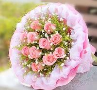 [鮮花速遞,網上訂花] #A1501019情人節粉色玫瑰限量鮮花束(11枝粉玫)