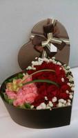 [鮮花速遞,網上訂花] #HF016花盒(33枝雙色玫瑰)