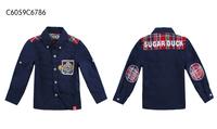 SUGARMAN深藍色型仔全純棉反領恤衫6786