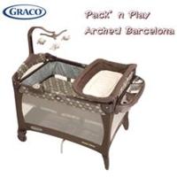 美國Graco 多功能舒適嬰幼兒安撫 遊戲床 摺合 雙層網床 藍草