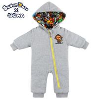 SUPERDUCK 冬季 厚身 嬰兒 長袖 bb衫 有帽雙面 超厚 夾衣 6863