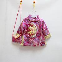 新年 唐裝 旗袍款夾棉服-粉紅色