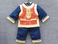 新年 唐装 旗袍童装禮服兒童服装-藍色