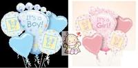 可愛BB款球束5個裝 百日宴滿月氣球佈置 氫氣球 包充氦氣 Baby Balloon Set(現貨)
