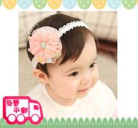 特價!百日宴bb嬰兒/女童賀新年派對髮飾物用品~波波花型頭髮帶 小童飾物 Elastic Pompom Flower Headband(3色) H063 現貨