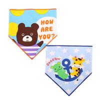 嬰兒bb用品~可愛雙層純棉三角巾口水肩套裝 BB1415 現貨