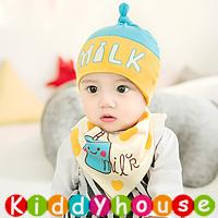 嬰兒用品~可愛Milk圖案帽仔+口水肩套裝(粉藍) H596 現貨