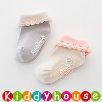 bb嬰兒用品~小公主優美心心邊嬰兒小童防滑襪2對組 S356 現貨