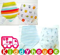 嬰兒用品~雙面三角巾純棉口水肩bib(2件裝) BB967 現貨