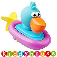bb嬰兒玩具~拉線上鏈動物快艇沖涼/戲水玩具(大嘴鳥) T361 現貨