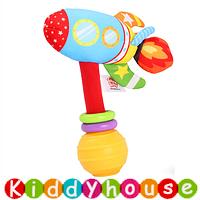 bb嬰兒玩具~趣緻卡通交通工具手搖棒(火箭) T549 現貨