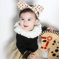 百日宴bb嬰兒影相用品/女童賀新年 派對髮飾物~活潑小公主點點大耳仔頭飾髮帶(米) Bunny Ear Headband H506 現貨