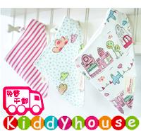 嬰兒用品~三角巾雙層純棉口水肩bib(3件裝) BB1096 現貨