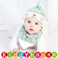 嬰兒用品~可愛熊帽仔+口水肩套裝(粉綠) H598 現貨