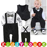 嬰幼兒bb衫~小王子假吊帶+背心兩件西裝全開夾衣套裝 BB1440 現貨
