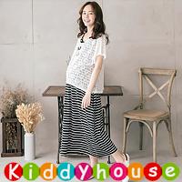online香港孕婦時裝服飾專門店hk~休閒蕾絲外衣哺乳餵奶長裙套裝 MF351 現貨