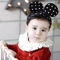 百日宴bb嬰兒影相用品/女童賀新年 派對髮飾物~活潑小公主點點大耳仔頭飾髮帶(黑) Bunny Ear Headband H507 現貨