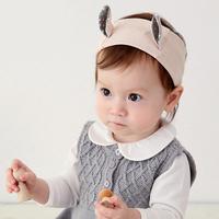 百日宴bb嬰兒影相用品/女童賀新年 派對髮飾物~小公主純棉星星耳仔頭飾粗髮帶(淡粉) Bunny Ear Headband H512 現貨