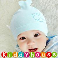 百日宴bb嬰兒/女童派對髮飾物用品~柔軟純棉小鯨魚BB帽(粉藍) Baby Hat H590 現貨