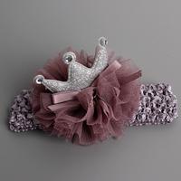 百日宴bb嬰兒影相用品/女童賀新年 派對髮飾物~小公主針織薄紗皇冠頭飾粗髮帶(紫) Elastic Crown Headband H542 現貨