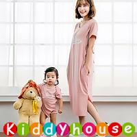online香港孕婦時裝服飾專門店hk~甜美哺乳餵奶長裙+BB夾衣裙 親子裝 MF373 現貨