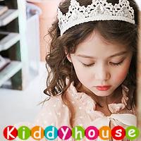 百日宴bb嬰兒/女童派對髮飾物用品~高貴小公主純棉閃鑽頭飾髮帶(米白色) Elastic Crown Headband H510 現貨