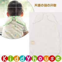 BB嬰兒用品~優質日系6層純棉紗布大號(L)天使之翼墊背吸汗巾(白色) BB1303 現貨