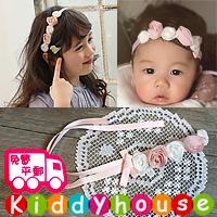 百日宴bb嬰兒影相用品/女童賀新年 派對髮飾物~粉嫩卷心花花頭飾髮帶 Flower Headband H390 現貨