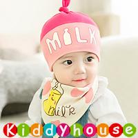 嬰兒用品~可愛Milk圖案帽仔+口水肩套裝(粉紅) H597 現貨