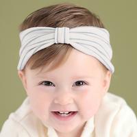 百日宴bb嬰兒影相用品/女童賀新年 派對髮飾物~小公主針織蝴蝶結頭飾粗髮帶(灰藍) Elastic Headband H564 現貨