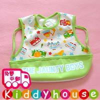 BB嬰兒用品~日款印花帶兜防水小童飯衣/口水肩(車仔) BB1249 現貨