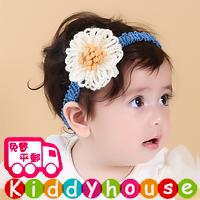 【限時特價】bb嬰兒拍照用品/女童派對髮飾~小公主針織立體花花頭飾髮帶 Elastic Flower Headband H493 現貨