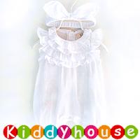 嬰兒bb衫~小公主百日宴飛飛袖薄款夾衣+髮帶 BB1485 現貨
